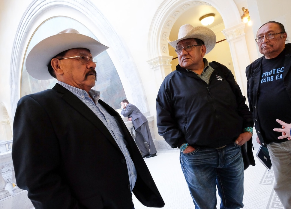 (Francisco Kjolseth | The Salt Lake Tribune) Utah Navajo DineŽ BikeŽyah members Albert Holiday, Leonard Lee and Jonah Yellowman, from left, gather at the Utah Capitol after sitting in on Rep. Mike Noel's, R-Kanab, proposed HB136 that would muzzle city and local officials from speaking out on public-lands protections during the House Natural Resources, Agriculture, and Environment Standing Committee at the Capitol on Tuesday, Feb. 6, 2018.