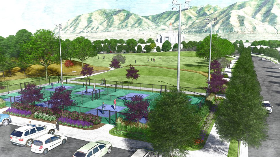 (Rendering courtesy of The Church of Jesus Christ of Latter-day Saints) This is an artist's rendering of a portion of the planned residential community near the site of the Tooele Valley Utah Temple.