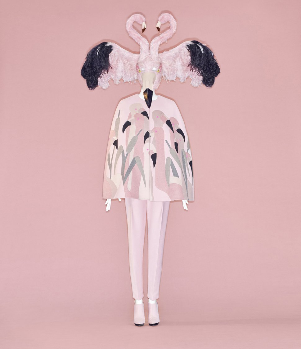 (Photo by Johnny Dufort, courtesy of The Metropolitan Museum of Art) Flamingo cape, Bertrand Guyon for Schiaparelli, fall-winter haute couture 2018-2019, courtesy of Schiaparelli