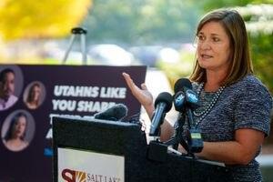 (Trent Nelson  |  The Salt Lake Tribune) Salt Lake County Mayor Jenny Wilson speaks at a news conference in Salt Lake City on Tuesday, Sept. 14, 2021.