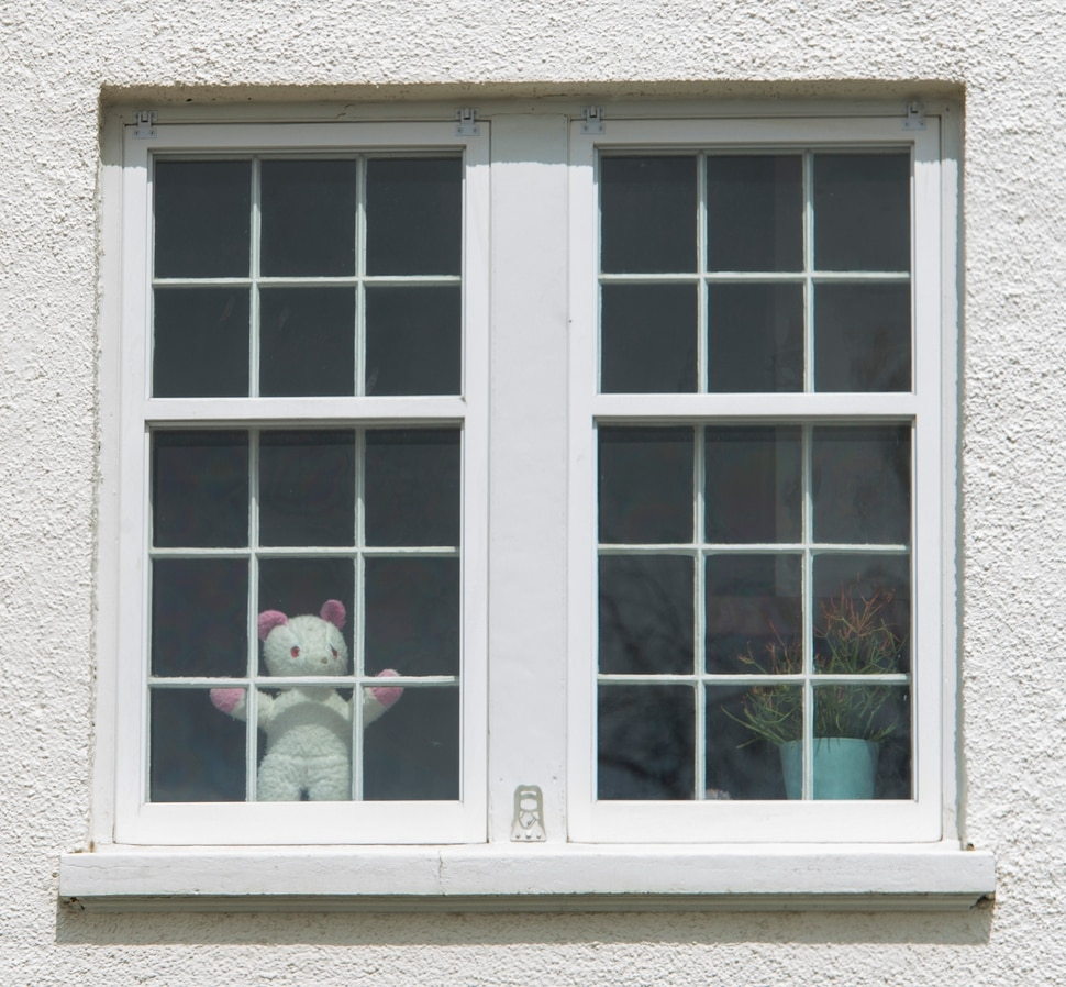 (Rick Egan | The Salt Lake Tribune) A bear in the window of a house in Salt Lake City. Bears are showing up in windows of homes in Utah, so kids can go on a bear hunt as they take a walk or a drive through their neighborhoods. Wednesday April 1, 2020