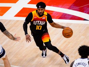 (Trent Nelson  |  The Salt Lake Tribune) Utah Jazz guard Mike Conley (10)j as the Utah Jazz host the Minnesota Timberwolves, NBA basketball in Salt Lake City on Saturday, Dec. 26, 2020.