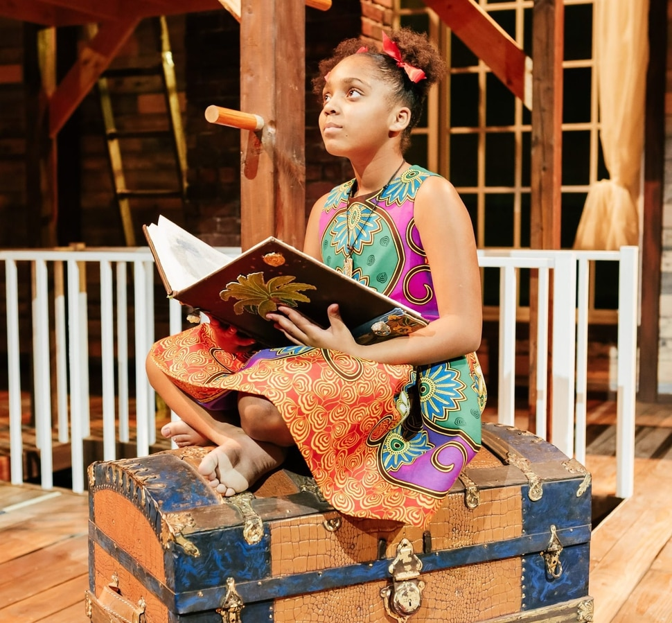 """(Photo courtesy of Pioneer Theatre Company) Ava Lynn Smith as Little Girl/young Ti Moune in PTC's production of """"Once On This Island."""""""