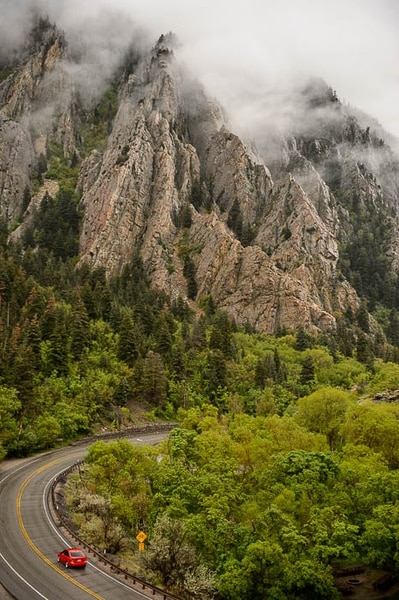 (Trent Nelson | The Salt Lake Tribune) A misty afternoon near Storm Mountain in Big Cottonwood Canyon, Friday May 11, 2018.