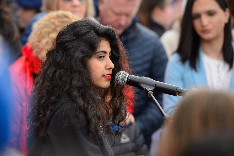 (Trent Nelson | The Salt Lake Tribune) Mishka Banuri speaks at the 2019 Women's March on Utah in Salt Lake City on Saturday Jan. 19, 2019.