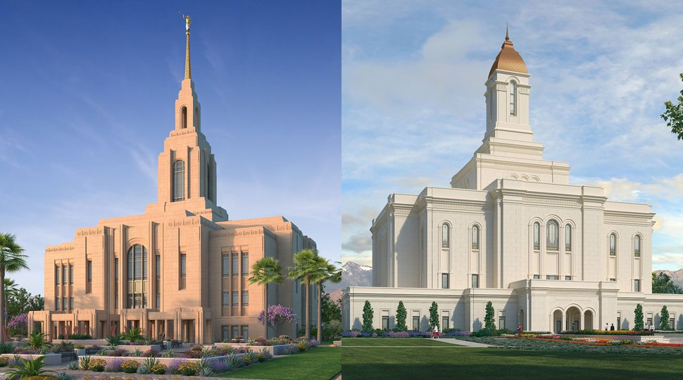 (Images courtesy of The Church of Jesus Christ of Latter-day Saints) Renderings the newly announced Washington County and Tooele Valley temples.