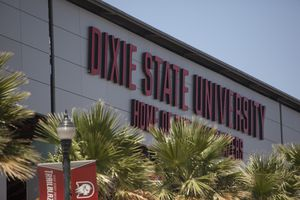 (Chris Caldwell/The Spectrum via AP) Greater Zion Stadium at Dixie State University is shown Tuesday, June 30, 2020, in St. George, Utah. The Dixie State University board of trustees and the Utah Board of Higher Education voted in December 2020 to recommend changing the school's name.
