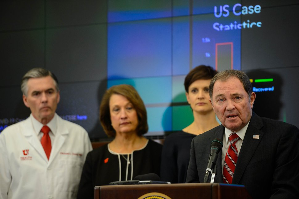 (Trent Nelson | The Salt Lake Tribune) Gov. Gary Herbert speaks at a news conference in the state's Emergency Operations Center on Thursday, March 12, 2020 addressing the current state of COVID-19 in Utah. Representatives from the Utah System of Higher Education, the Utah Board of Education, Utah Jazz, local health authorities and Utah Department of Health were also present.