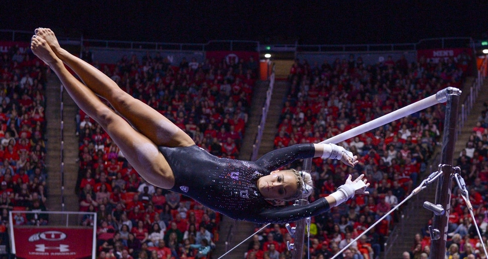 (Leah Hogsten   The Salt Lake Tribune) MyKayla Skinner flies between the bars during her routine. The fourth-ranked Utes compete against No. 9 California, No. 16 Auburn, No. 21 Brigham Young, Stanford and Southern Utah, during the the NCAA Regional Championships, Saturday, April 7, 2018 at the Huntsman Center. The top two teams advance to the NCAA Championships April 20-21 in St. Louis.