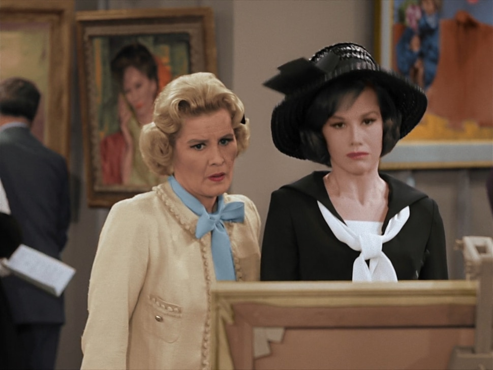 """(Photo courtesy CBS) Sally Rogers (Rose Marie) and Laura Petrie (Mary Tyler Moore) can't believe what they're seeing in the """"October Eve"""" episode of """"The Dick Van Dyke Show."""""""