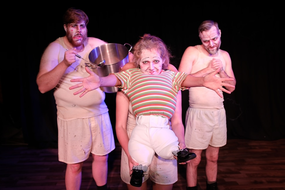 """(Courtesy photo) Leviticus Brown, from left, Emily Nash and Shawn Saunders perform in """"Shockheaded Peter,"""" a macabre German musical crafted out of cautionary tales about the delightful, horrible consequences of children's disobedience, which is the latest production by Sackerson theater company."""