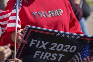 (Leah Hogsten | The Salt Lake Tribune) Activists pushing for a forensic audit of the 2020 election in Utah rally at the Capitol on Oct. 20, 2021.