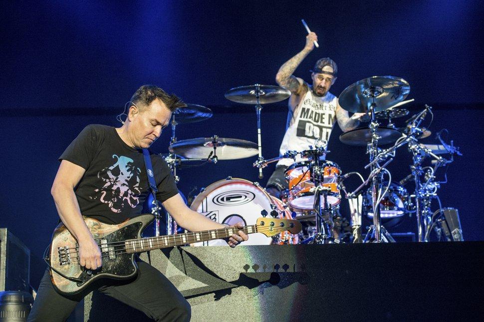AP file photo Blink-182's Mark Hoppus, left, and Travis Barker