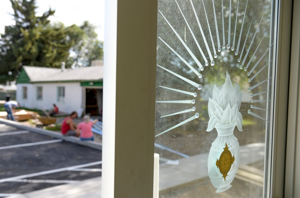 (Leah Hogsten | The Salt Lake Tribune) The etched glass doors of the newly constructed Salt Lake City Krishna Temple, August 10, 2019. The Krisha Temple will open its doors with a gala on August 17, 2019.