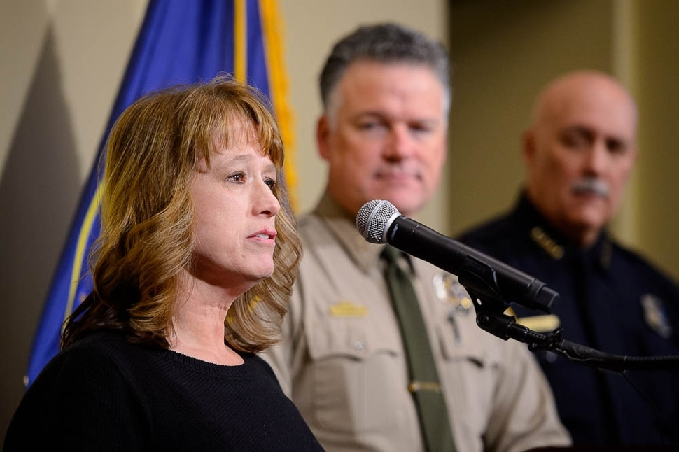 (Trent Nelson | The Salt Lake Tribune) Cold case crime analyst Kathy Mackay speaks at a press conference updating the public on the new cold case database, in Salt Lake City on Tuesday Jan. 29, 2019.