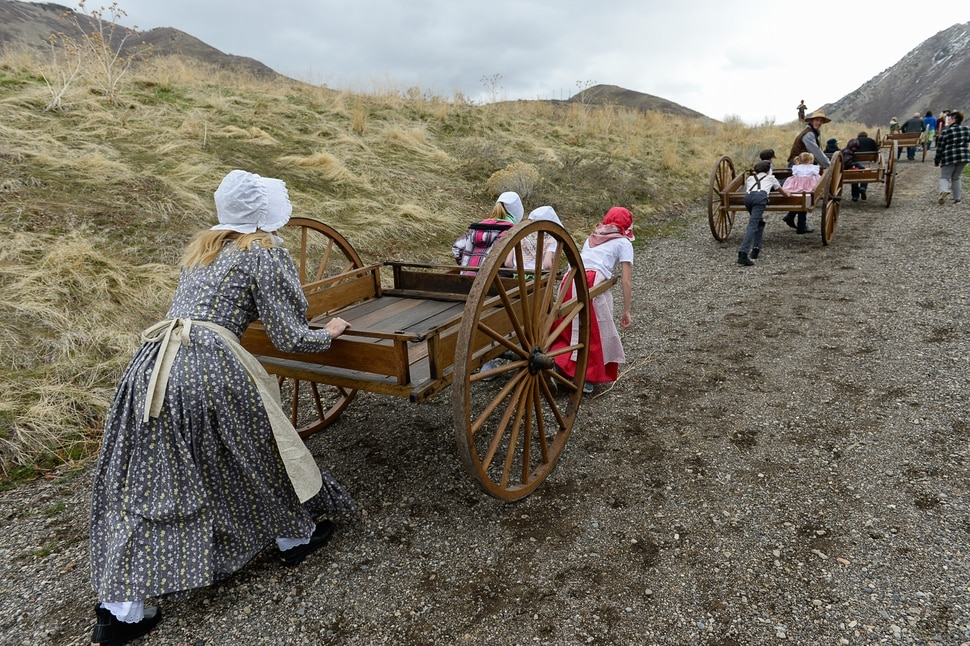 (Francisco Kjolseth | The Salt Lake Tribune) In anticipation of Trek: The Movie, a comedy about teens on a re-enactment trip, YouTube vloggers and bloggers were invited to experience a re-enactment themselves around the property of This Is The Place Heritage Park.