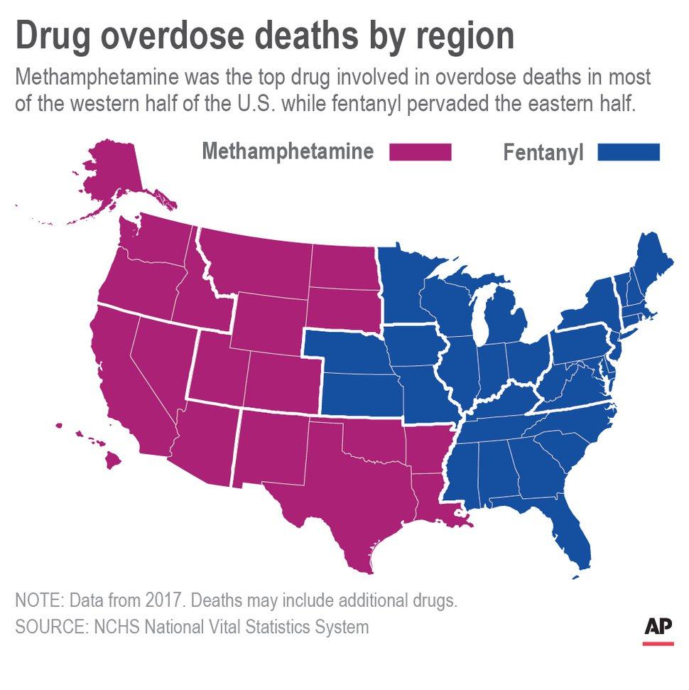 Map shows meth and fentanyl drug overdose deaths by region in 2017.