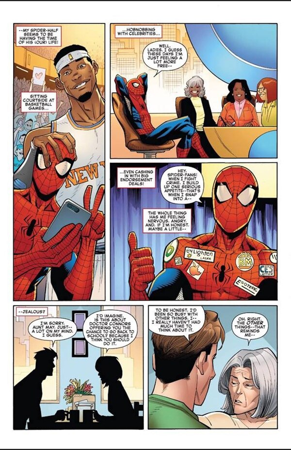 (Courtesy Marvel Comics) Spider-Man is seen sporting a CES Letter logo in the latest edition of the comic-book series.