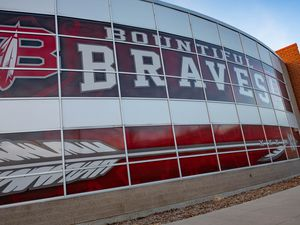 (Francisco Kjolseth  |  Tribune file photo) Current naming is pictured around Bountiful High on Monday, Nov. 30, 2020, after the school announced it would to retire The Braves name. The Utah House on Tuesday rejected a resolution encouraging schools to replace American Indian mascot names.