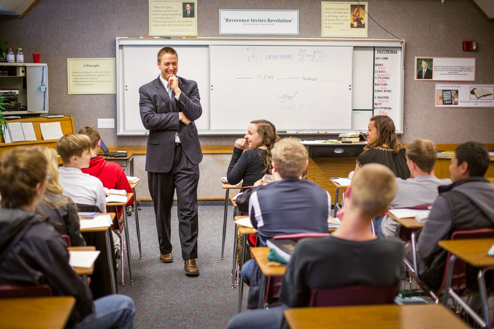 (Photo courtesy of The Church of Jesus Christ of Latter-day Saints) In addition to Sunday worship and the weekly and summertime activities, Latter-day Saint youths ages 14 to 18 enroll in seminary.
