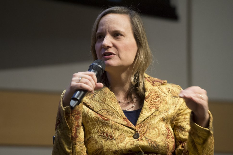 (Jeremy Harmon | Tribune file photo) Jana Riess speaks while recording the 100th episode of the