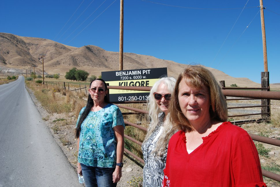 (Brian Maffly | The Salt Lake Tribune) Benjamin residents Nita Burch, Debi Brozovich and Julie Sainsbury are leading efforts opposing the expansion of Kilgore Cos.' quarry, pictured behind them on West Mountain in southern Utah County.