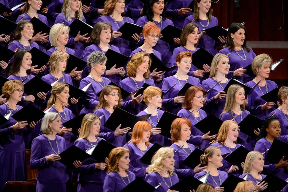 (Trent Nelson | The Salt Lake Tribune) The Tabernacle Choir at Temple Square sings at the General Conference of The Church of Jesus Christ of Latter-day Saints in Salt Lake City, Saturday Oct. 6, 2018.