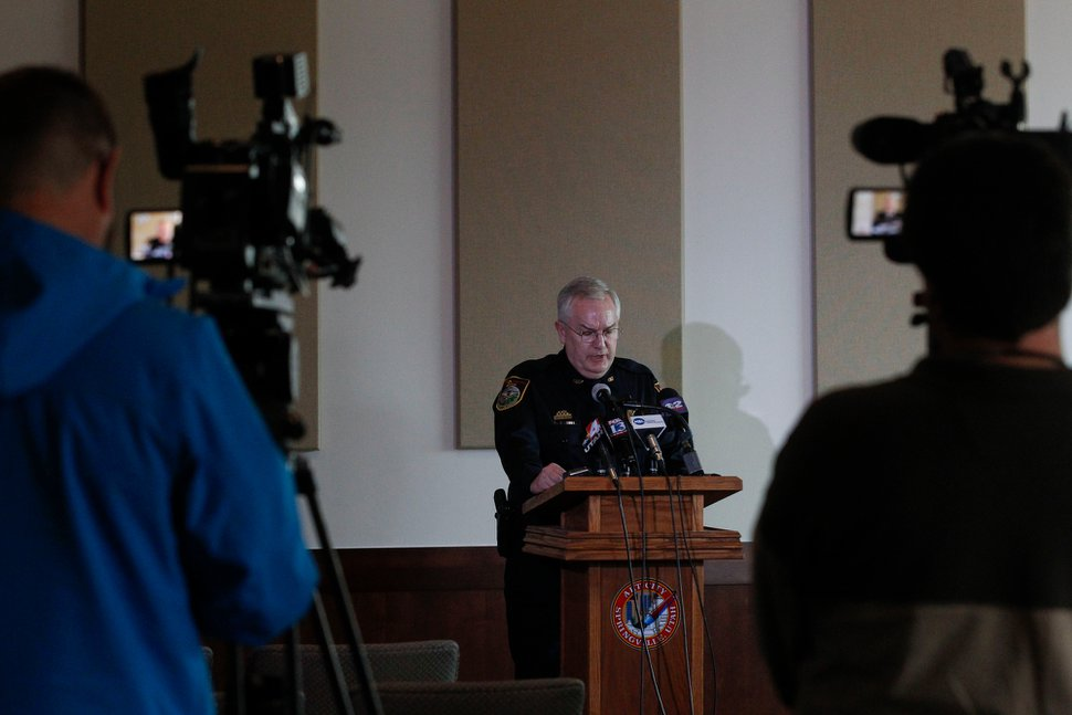Chief Scott Finlayson speaks during a news conference about the Strack family on Tuesday, Jan. 27, 2015, at Springville, Utah. Police said they will release the conclusion of their investigation into the deaths of five members of the Utah family found in a single bedroom last fall. (AP Photo/The Daily Herald, Sammy Jo Hester)