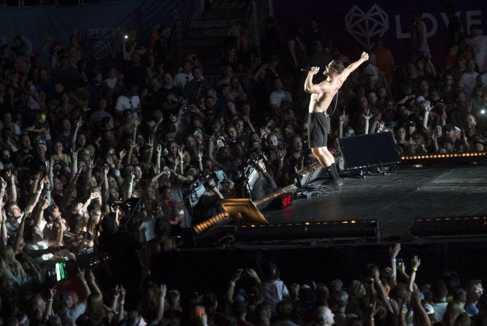 (Rick Egan | The Salt Lake Tribune) Dan Reynolds performs with Image Dragons at the Loveloud Festival at Rice-Eccles Stadium, Saturday, July 28, 2018.