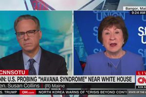 "(Screengrab via Grabien) Sen. Susan Collins appears on CNN's ""State of the Union"" with Jake Tapper on Sunday."