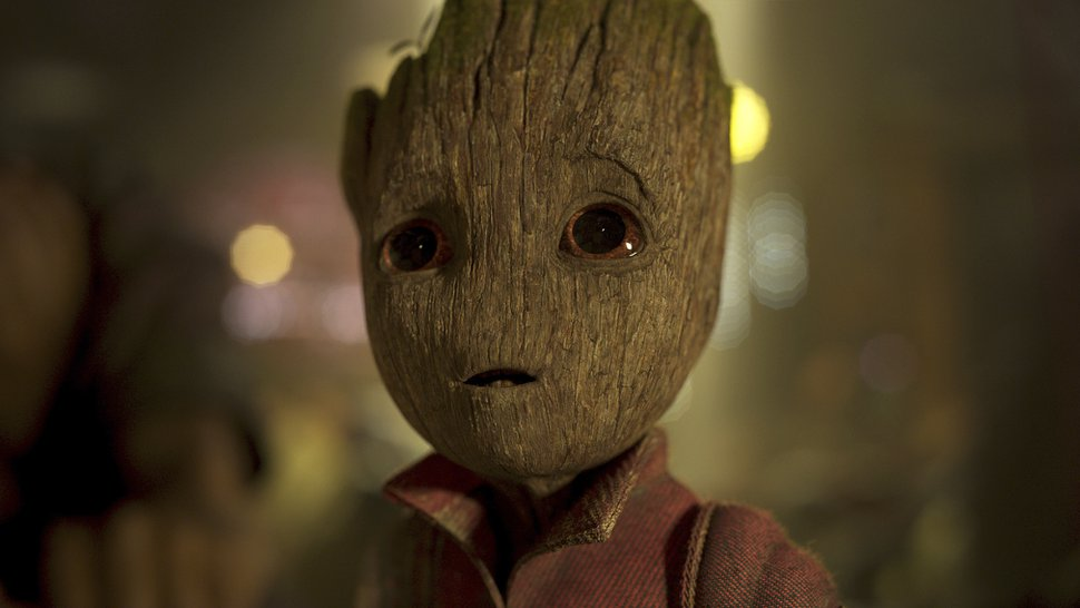 This image released by Disney-Marvel shows the character Groot, voiced by Vin Diesel, in a scene from,