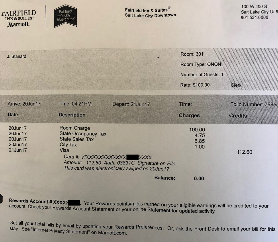 A receipt from June 2017, when now-former Rep. John Stanard used state funds to pay for a Salt Lake City hotel room. He was in town on legislative business, but an escort told a British newspaper that he paid her for sex on the same day.