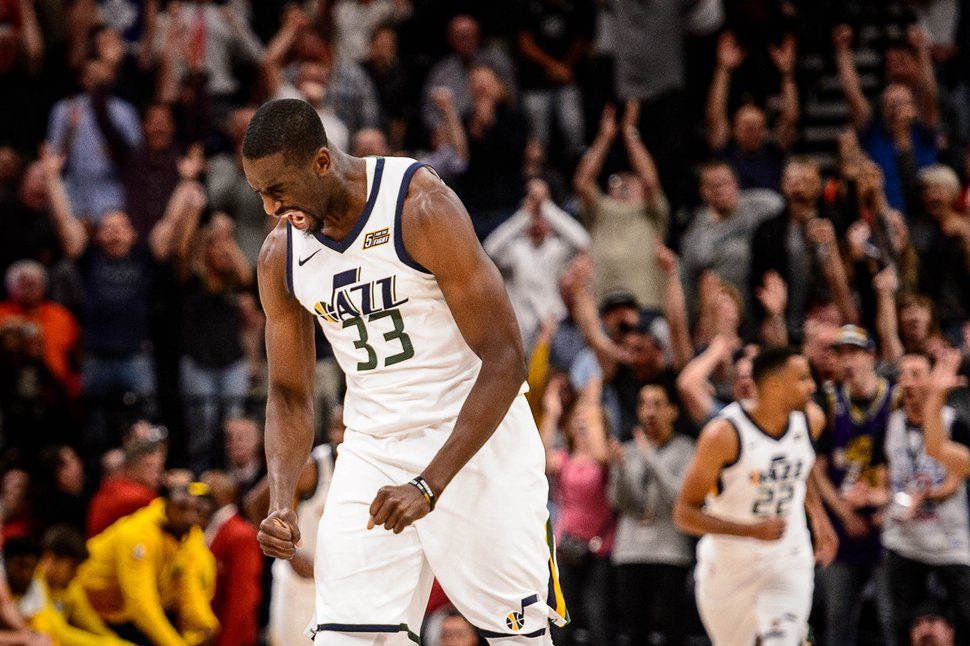(Trent Nelson | The Salt Lake Tribune) Utah Jazz forward Ekpe Udoh (33) celebrates a fourth quarter comeback as the Utah Jazz host the Denver Nuggets, NBA basketball in Salt Lake City, Wednesday October 18, 2017.