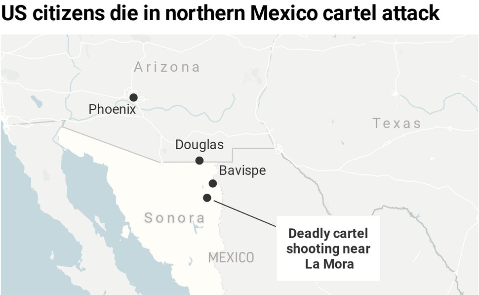Map locates the site of the cartel killings of at least nine US citizens in the Mexican state of Sonoma;