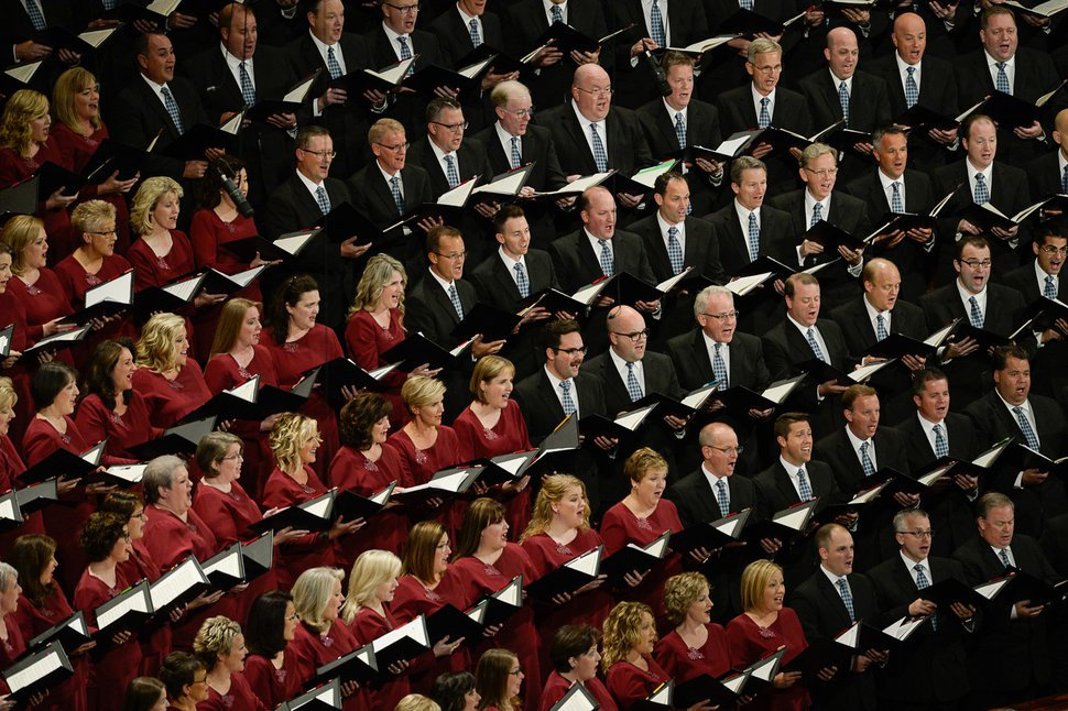 (Francisco Kjolseth | The Salt Lake Tribune) The Tabernacle Choir at Temple Square sings during the Sunday morning session of the 189th twice-annual General Conference of The Church of Jesus Christ of Latter-day Saints at the Conference Center in Salt Lake City on Sunday, Oct. 6, 2019.