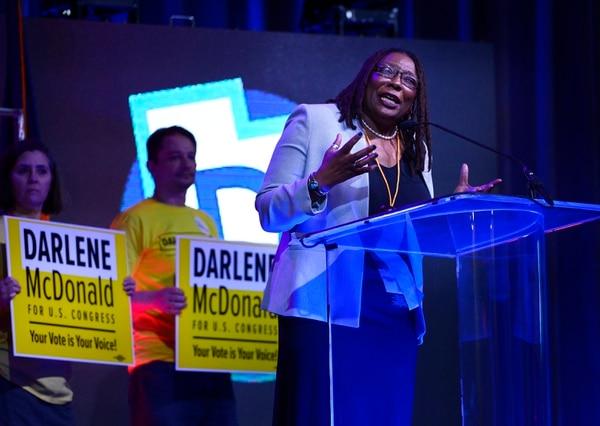 (Scott Sommerdorf | The Salt Lake Tribune) Candidate Darlene McDonald speaks at the Democratic convention, Saturday, April 28, 2018.
