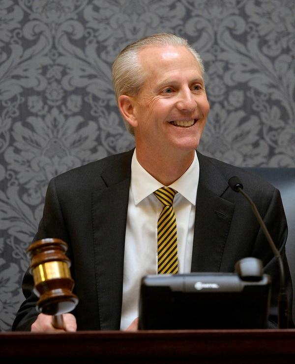 Al Hartmann | The Salt Lake Tribune Senate President Wayne L. Niederhauser smiles at members before banging the gavel to open the 2016 session of the Utah Legislature Monday Jan. 25.
