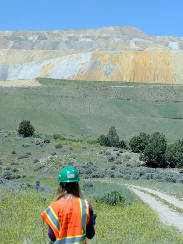 (Al Hartmann | Tribune File Photo) A reporter stands in the foreground of a former rail dump that was rehabilitated in the 1990s on June 22, 2015. The native vegetation has taken hold at the bottom of the tailings mountain.