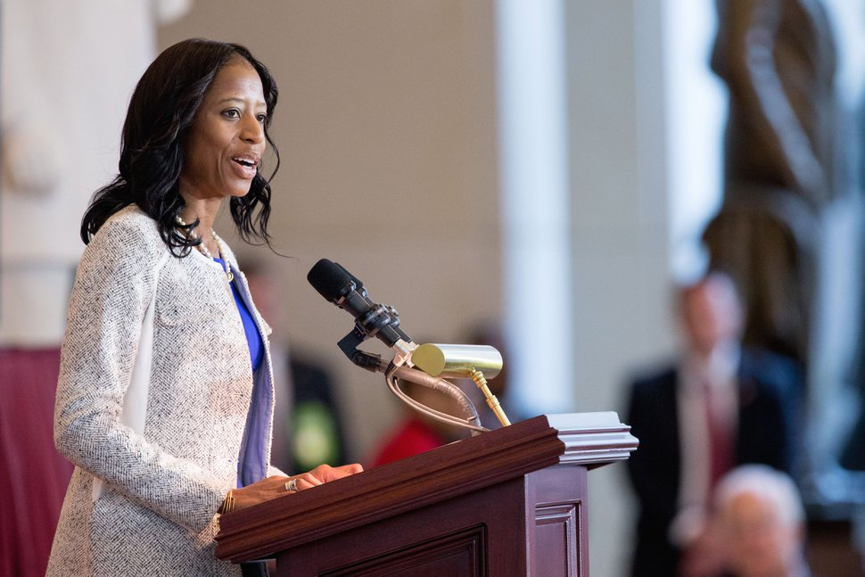 Rep. Mia Love, R-Utah speaks in Emancipation Hall on Capitol Hill in Washington, Wednesday, Dec. 9, 2015, during a commemoration ceremony for the 150th anniversary of the ratification of the 13th Amendment to the U.S. Constitution which abolished slavery in the U.S. (AP Photo/Andrew Harnik)