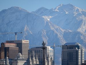 (Trent Nelson | Tribune file photo) The downtown Salt Lake City skyline and mountains on Thursday, Nov. 12, 2020. Downtown is looking to rebound from COVID-19 this year.