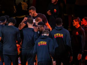 (Trent Nelson  |  The Salt Lake Tribune) Utah Jazz center Rudy Gobert (27) as the Utah Jazz host the Los Angeles Clippers in a Game 5 matchup, NBA basketball in Salt Lake City on Wednesday, June 16, 2021.