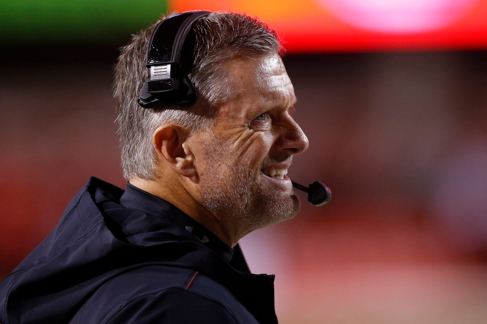 Utah head coach Kyle Whittingham looks on in the second half during an NCAA college football game against UCLA Saturday, Nov. 16, 2019, in Salt Lake City. (AP Photo/Rick Bowmer)