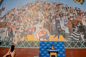 "(Trent Nelson | Tribune file photo) In 2020, artist Jann Haworth talks about the ""Utah Women 2020"" mural, which features more than 250 Utah women from the past and present and was painted by Haworth on the Dinwoody Building in Salt Lake City."