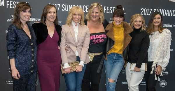 Leah Hogsten | The Salt Lake Tribune l-r Director Alethea Jones, Actors Molly Shannon,Toni Collette, Bridget Everett, Katie Aselton, screenwriter Julie Rudd and producer Naomi Scott pose at the premiere of ÒFun Mom Dinner,Ó Friday, Jan. 27, at the 2017 Sundance Film Festival in Park City. In the film, four women, whose kids are in the same preschool class, get together for dinner Ñ and things take an unexpected turn.