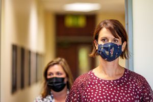 (Trent Nelson     The Salt Lake Tribune) Executive director of Salt Lake County Health Department Dr. Angela Dunn and Salt Lake County mayor Jenny Wilson arrive at a news conference in Salt Lake City on Tuesday, Aug. 10, 2021. Robert Gehrke says the County Council should give Dunn's elementary school mask mandate a three-week window to prove its worth.