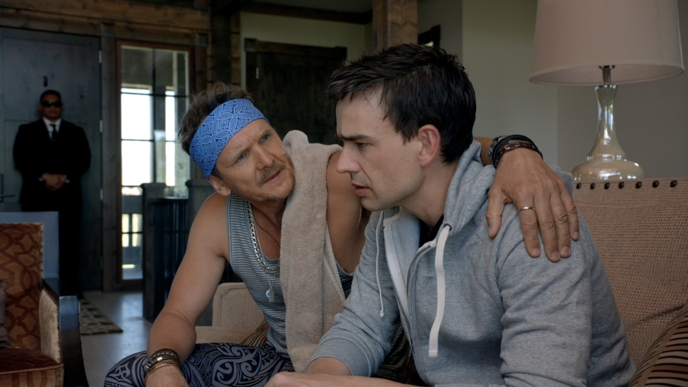 | Purdie Distribution Simon (Christopher Gorham, right), an author hiding behind a pseudonym, gets some advice from movie star Perry Quinn (Sebastian RochŽ), in the romantic comedy