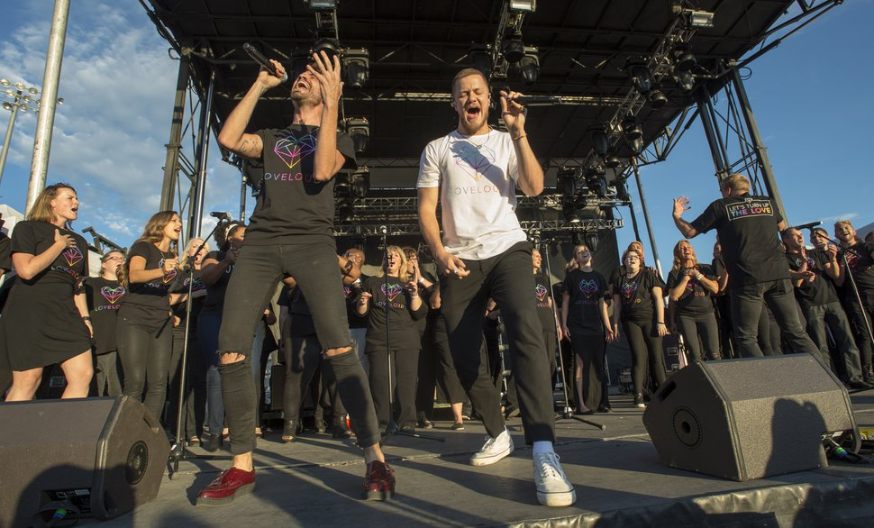 (Rick Egan | The Salt Lake Tribune) Tyler Glenn and Dan Reynolds perform a song together at the LoveLoud Fest at Brent Brown Ballpark at UVU campus, Saturday, Aug. 26, 2017.
