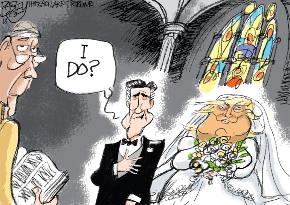 "(Pat Bagley | The Salt Lake Tribune) This Pat Bagley cartoon, titled ""Married to the Mob,"" appears in The Salt Lake Tribune on Thursday, Oct. 18, 2018."