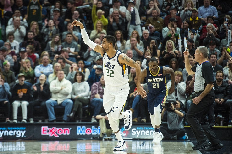 (Chris Detrick | The Salt Lake Tribune) Utah Jazz forward Thabo Sefolosha (22) celebrates after scoring during the game at Vivint Smart Home Arena Friday, December 1, 2017. Utah Jazz defeated New Orleans Pelicans 114-108.