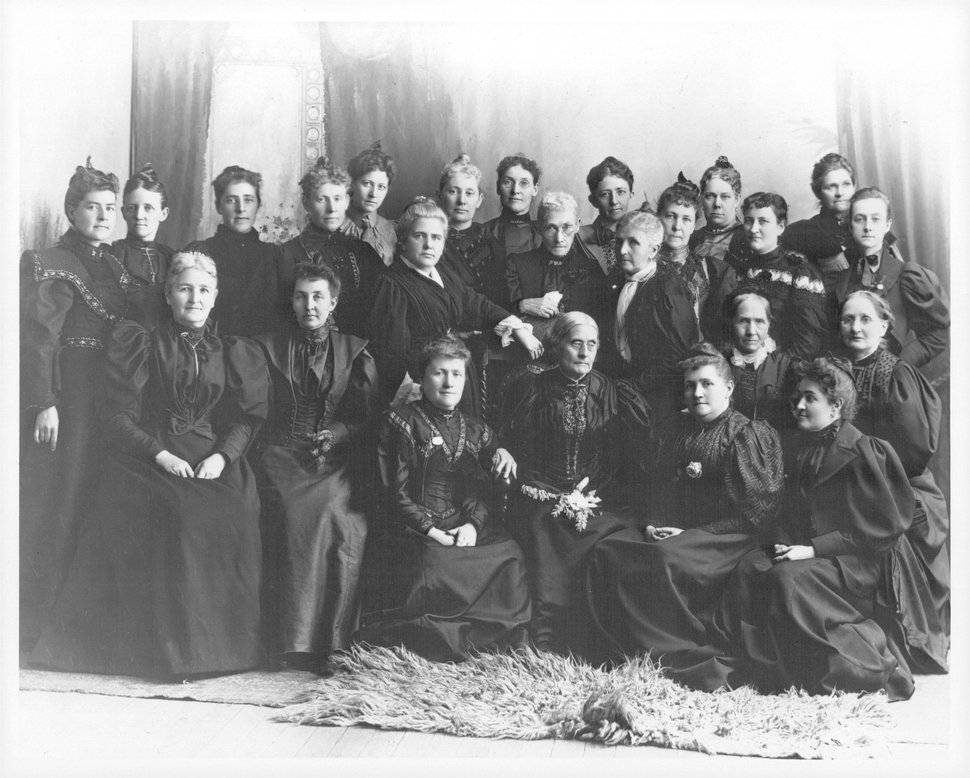 Tribune file photo Susan B. Anthony and the Reverend Anna Howard Shaw, national suffrage leaders, met with Utah suffrage leaders in 1895. Susan B. Anthony is seated third from the right; the Reverend Shaw has her hand on Miss Anthony's chair; next to her is Sarah Granger Kimball, then Emmeline B. Wells and Zina Diantha Young (seated), who was General President of the Relief Society when this photo was taken.